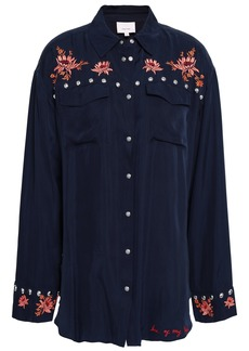Cinq a Sept Cinq À Sept Woman Studded Embroidered Twill Shirt Midnight Blue
