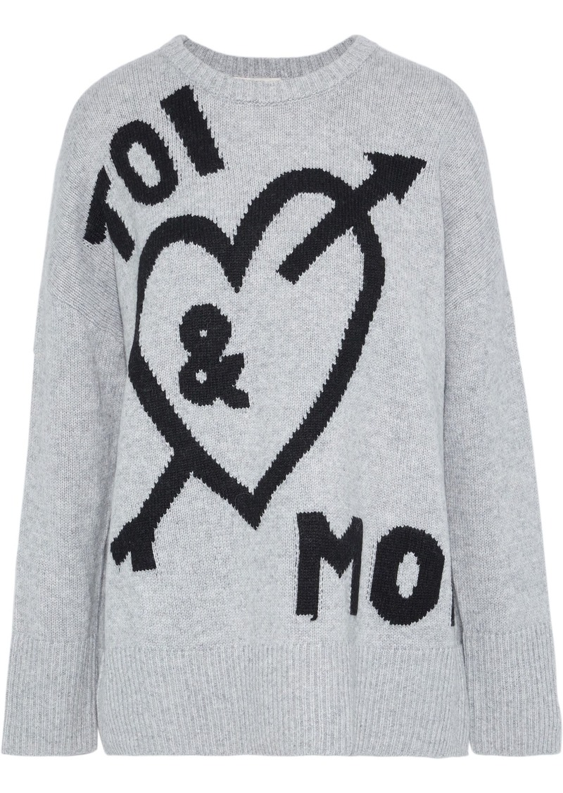 Cinq a Sept Cinq À Sept Woman Tara Intarsia-knit Sweater Gray