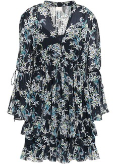 Cinq a Sept Cinq À Sept Woman Deirdra Tiered Floral-print Georgette Mini Dress Midnight Blue