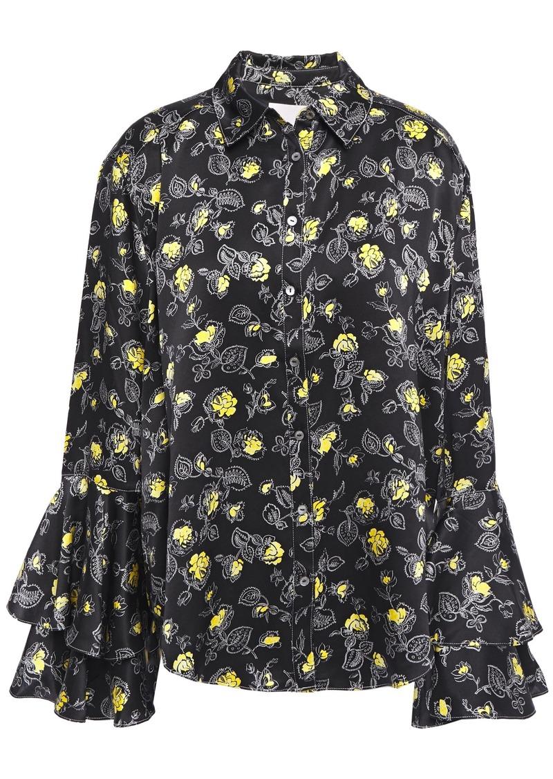 Cinq a Sept Cinq À Sept Woman Tiered Floral-print Silk-satin Blouse Black