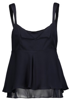 Cinq a Sept Cinq À Sept Woman Zanna Ruffled Silk Crepe De Chine Peplum Top Midnight Blue