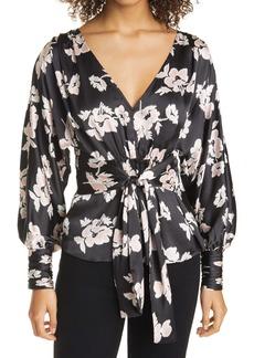 Cinq a Sept Cinq à Sept Yesenia Floral Textured Tie Front Silk Blouse