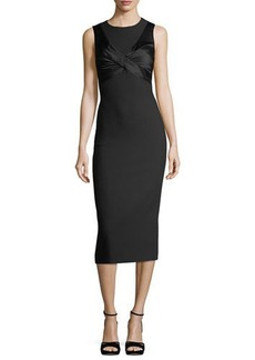 cinq a sept Adelise Crossover Sleeveless Sheath Midi Cocktail Dress
