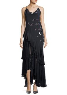 cinq a sept Aexandria V-Neck Slip Cocktail Dress with Embroidery