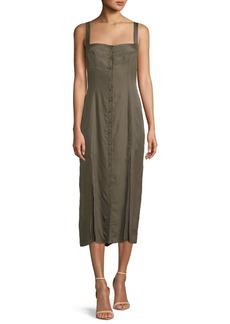 cinq a sept Alexa Sleeveless Button-Front Midi Dress