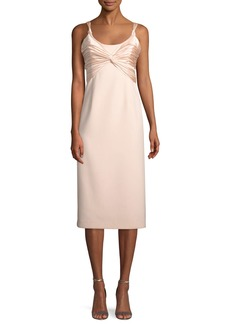 cinq a sept Amina Scoop-Neck Sleeveless A-Line Dress w/ Ruched Bodice