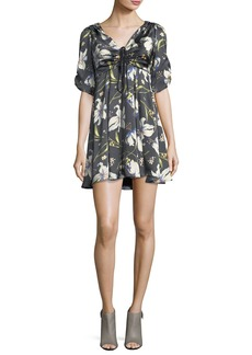 cinq a sept Anders Floral-Print Ruched Satin Dress