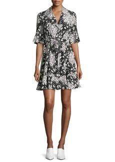 cinq a sept Arabella Short-Sleeve Button-Front Silk Mini Dress