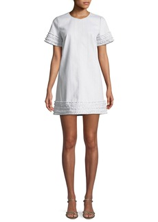 Cinq a Sept Ashton Crewneck Short-Sleeve Cotton Shift Dress w/ Frayed Trim