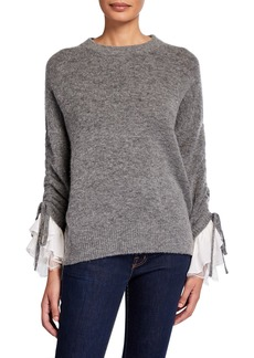 cinq a sept Atlas Lace-Cuff Wool Sweater