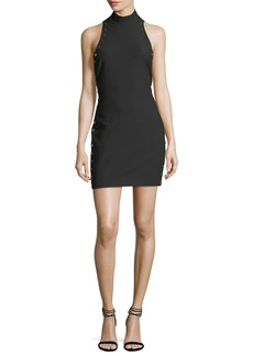 cinq a sept Ava Mock-Neck Fitted Crepe Dress with Grommets