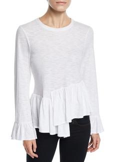 cinq a sept Aziza Bell-Sleeve Asymmetrical Cotton Top