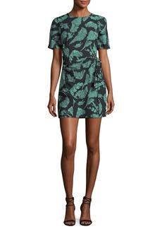 cinq a sept Bia Crewneck Tie-Side Palm-Print Mini Dress