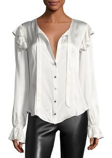 cinq a sept Cassanova Tie-Neck Button-Front Silk Satin Blouse