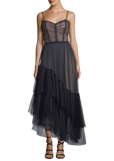 cinq a sept Coletta Sweetheart-Neck Fit-and-Flare Chiffon Cocktail Dress