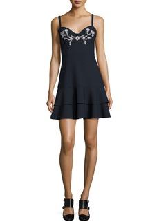 cinq a sept Dara Embroidered Sleeveless Mini Dress