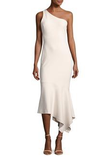 cinq a sept Dulcina One-Shoulder Handkerchief-Hem Midi Dress