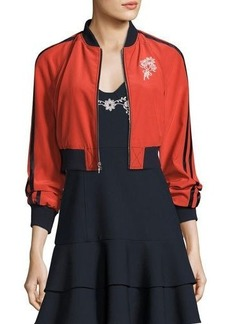 cinq a sept Emerson Embroidered Silk Bomber Jacket