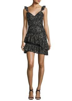 cinq a sept Enid V-Neck Sleeveless Embroidered Mini Dress