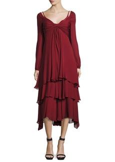 cinq a sept Fira Tiered Silk Dress