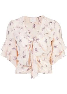 Cinq A Sept floral-print ruffled blouse - Pink & Purple
