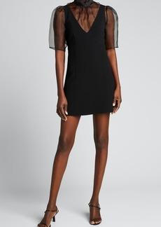 cinq a sept Frances Sheer Overlay Mini Dress