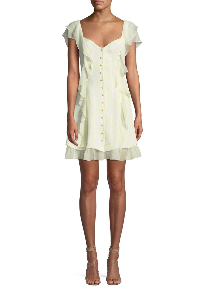 cinq a sept Georgia Sweetheart Button-Down Silk Chiffon Dress
