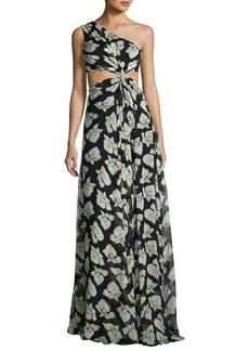 cinq a sept Goldie Floral-Print One-Shoulder Maxi Dress