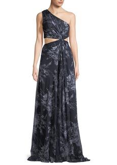 cinq a sept Goldie One-Shoulder Floral-Print Silk Open-Waist Gown