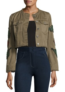 cinq a sept Halina Crop Denim Jacket W/ Logo Patches