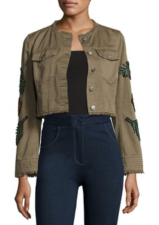 cinq a sept Halina Crop Denim Jacket W/ Logo Patches