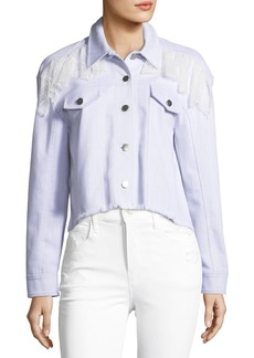 cinq a sept Ismay Button-Front Cropped Denim Jacket with Lace