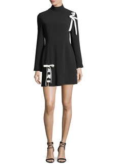 cinq a sept Izella Mock-Neck Long-Sleeve Mini Dress with Lace-Up Details
