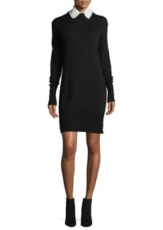 cinq a sept Jana Collared Wool-Blend Sweaterdress w/ Perforations