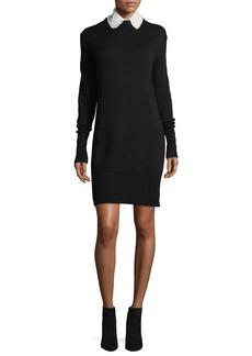 Cinq a Sept Jana Collared Wool-Blend Sweaterdress w/ Perforations