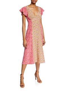 cinq a sept Jessica Colorblock Floral-Print Short-Sleeve Midi Dress