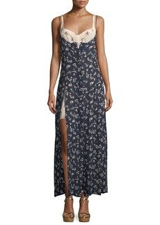 cinq a sept Jocelyn Sleeveless Floral-Print Layered Silk Dress