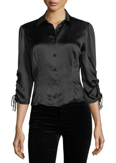 cinq a sept Jolene Button-Front Slim Silk Blouse