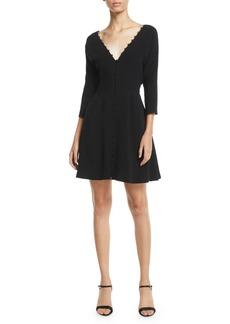 cinq a sept Joslyn Button-Front 3/4-Sleeve Short Dress