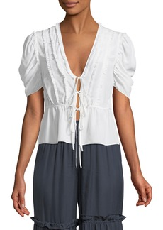 cinq a sept Keira Lace-Up Silk Blouse with Ruffle Trim