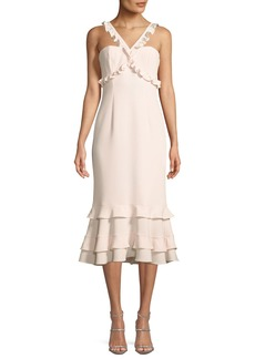 cinq a sept Kimora A-Line Crepe Midi Cocktail Dress with Ruffled Trim