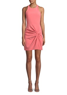 cinq a sept Knot-Front Halter Mini Dress