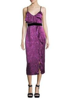 cinq a sept Lara Sleeveless Floral-Print Satin Cocktail Dress w/ Velvet Trim