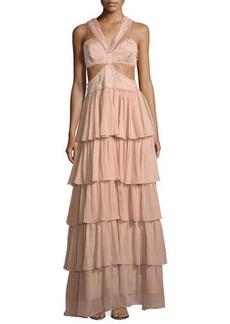 cinq a sept Leda Sleeveless Cutout-Waist Tiered Silk Evening Gown