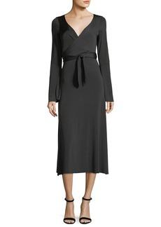 cinq a sept Lourdes Wrap-Front Long-Sleeve Jersey Cocktail Dress