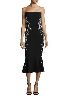 cinq a sept Luna Strapless Embroidered Flounce Midi Dress