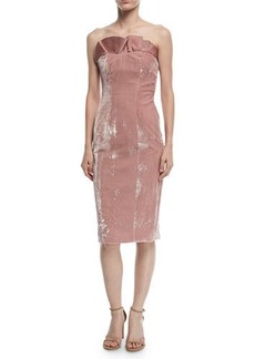 Cinq a Sept Marceau Strapless Velvet Fitted Cocktail Dress