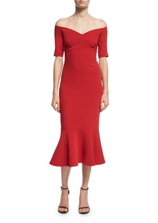 cinq a sept Marta Off-the-Shoulder Peplum-Hem Midi Dress