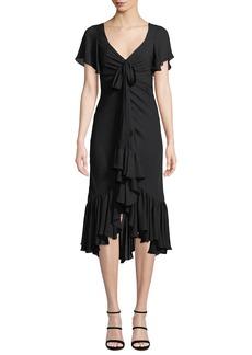 cinq a sept Mateo Tie-Front Ruffle Silk Midi Dress