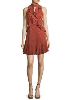 cinq a sept Maxime Satin Burnout Sleeveless Mini Dress